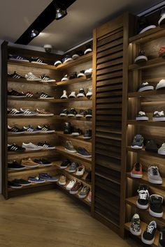 Walnut and Cherry Sneaker Display Wall with LED Lighting for Blades Skate Shop, NOHO, NYC. Shoe Wall, Shoe Room, Shoe Closet, Sneaker Rack, Sneaker Storage, Shoe Storage, Boutique Interior, Shop Interior Design, Shoe Display
