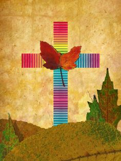 A Christian cross collage made with natural leaves.