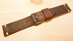 Handmade leather watch strap 22mm, vegetable tanned hand dyed three.