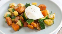 A delicious vegetarian hash of sweet potatoes, zucchini and soft-boiled eggs that can be ready in just 20 minutes.
