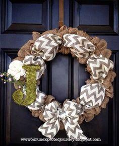 Chevron and burlap wreath