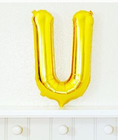 GOLD Letter U Gold Letter Balloons Gold Initial by girlygifts07