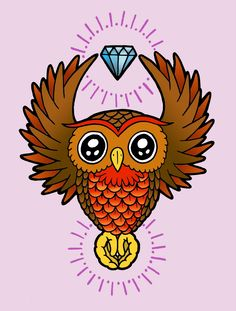 Owl tattoo idea - I have a picture of this after it is on the skin and it looks great but not sure on colour or the diamond Owl Tattoo Design, Tattoo Designs, Tattoo Ideas, Tattoo Drawings, Owl Tattoos, Tatoos, Traditional Flash, Wise Owl, Tattoo Flash
