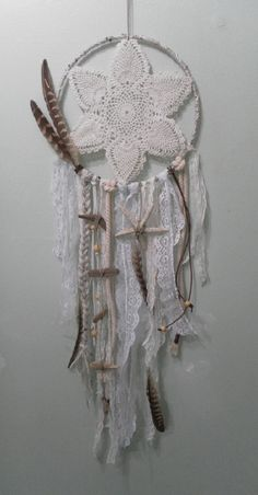 """9"""" Nautical/Ivory Dreamcatcher with driftwood and starfish."""