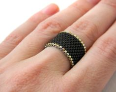 Wide black ring for women Beaded peyote ring Stylish ring Middle finger ring Goth ring Wide minimalist ring size 4 5 6 7 8 9 10 11 12 13 14 Seed Bead Jewelry, Seed Beads, Beaded Jewelry, Middle Finger Ring, Beaded Christmas Ornaments, Stylish Rings, Wide Band Rings, Beaded Rings, Tejidos
