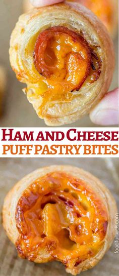 Ham and Cheese Puff Pastry Bites with just four ingredients is a delicious appetizer or after school snack the whole family will love. I Love Food, Good Food, Yummy Food, Easy Appetizer Recipes, Yummy Appetizers, Lunch Snacks, Easy Snacks, Cheesy Recipes, Bacon Recipes