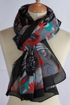 Chèche noir 100 % soie imprimé floral