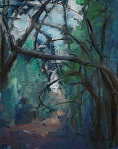 Original Oil Painting  Forest LandscapeWoods by AngelaOoghe