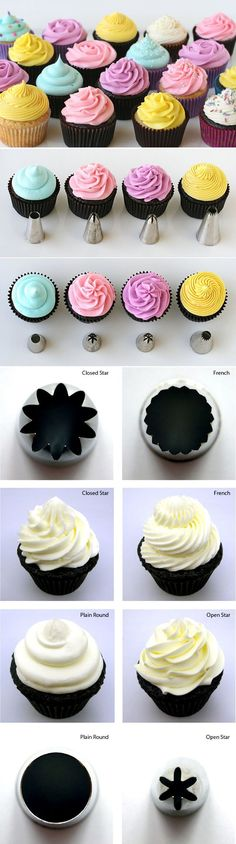 How to Frost Cupcakes- is it weird that I know these piping tips by their Wilton assigned numbers, instead of their fancy names? lol Simply the BEST tutorial on How to Frost Cupcakes! Includes amazing recipes and simple step-by-step directions! Frosting Recipes, Cupcake Recipes, Dessert Recipes, Recipes Dinner, Cupcake Crafts, Dessert Food, Cheesecake Recipes, Breakfast Recipes, Just Desserts