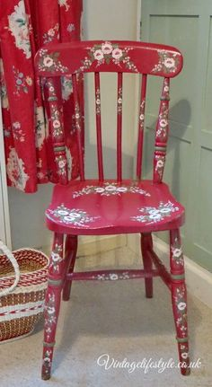 Folk art style hand painted vintage chair