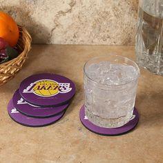 Los Angeles Lakers 4-Pack Round Neoprene Coaster Set - Purple