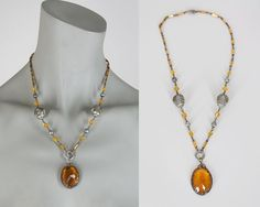 Vintage 30s Necklace / 1930s Art Deco Citrine Glass Pendant and Beaded Necklace by FloriaVintage on Etsy
