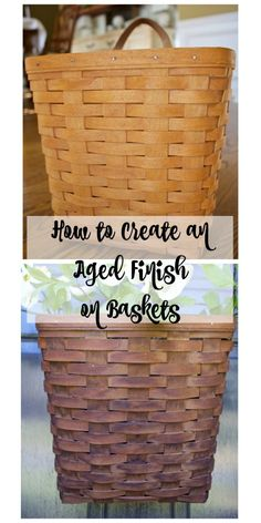 How to Create an Aged Finish on Baskets - Even Longaberger Baskets can look vintage and rustic for the Farmhouse Style look. Just use this vinegar stain recipe. 2 Bees in a Pod