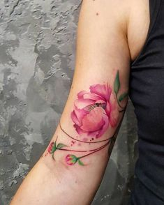 Watercolor Pink Peony Tattoo by Simona Blanar