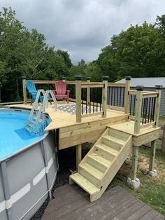Above Ground Pool Landscaping, Above Ground Pool Decks, Backyard Pool Landscaping, In Ground Pools, Pool Deck Plans, Backyard Plan, Decks Around Pools, Pool Steps, Intex Pool