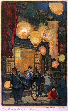 Lanterns in the Wind, Peking by Katharine Jowett (self-published print) http://www.hanga.com/viewimage.cfm?ID=550