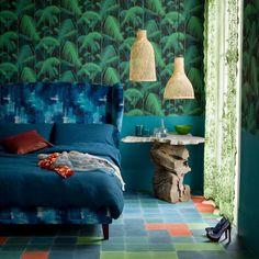 Blau und grün Motiv Schlafzimmer Wohnideen Living Ideas