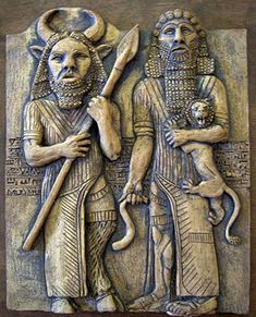 This image of Gilgamesh and Enkidu by modern-day artist Neil Dalrymple is inspired by ancient images of the two friends; notice Enkidu is part-animal, and smaller than the king whom he loves and serves