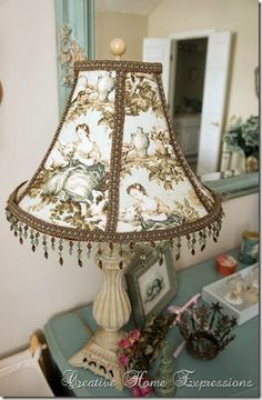 Clever crafty creative lampshade makeover tutorial shabby chic recover a lampshade creative home expressions greentooth Gallery