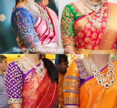 elbow sleeves maggam work wedding blouse designs