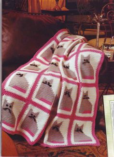 Cats afghan, filet square work with diagram ♥LC♥