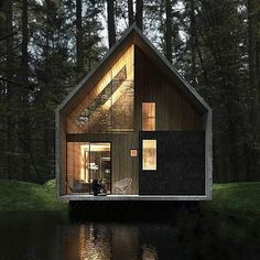 via heavywait - modern design architecture interior design home decor & Amazing Architecture, Contemporary Architecture, Architecture Design, Tiny House Design, Modern House Design, A Frame House, Forest House, Home Fashion, Exterior Design