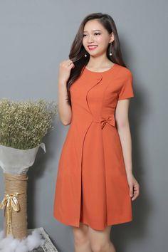 Đầm xòe tay con nơ eo màu cam