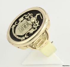 Family Crest Mens Vintage Ring - 14k Yellow Gold Solid Back Emblem Band Enameled