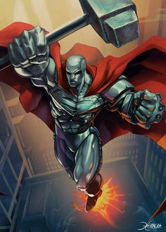by el-grimlock Love steel, the best character to come out of the Death of superman. Dc Heroes, Comic Book Heroes, Comic Books Art, Comic Art, Book Art, Steel Dc Comics, Univers Dc, Arte Dc Comics, Black Comics