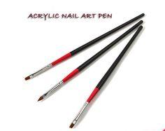 3ピースチョウセンイタチアクリルパウダーネイルアートブラシプロフェッショナルuvゲル爪ブラシ点在ペン用ジェルポリッシュdiy描画