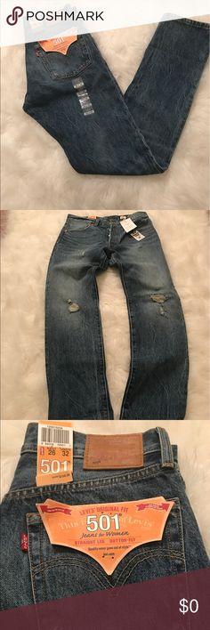 Levi's Original Fit 501 Jeans Levi's Original Fit 501 Jeans for Women. Straight-Leg Button Fly. 26Wx32L. Selvedge denim. Slightly distressed. Model photos for illustrative purposes. Levi's Jeans Straight Leg
