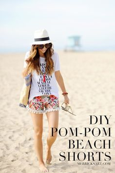 Merrick's Art // Style + Sewing for the Everyday Girl: DIY FRIDAY: POM-POM BEACH SHORTS