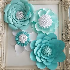 Large Paper Rose Extra Large Paper Flower Photo Prop Backdrop Set of 4 White Flower Wedding Nursery Decor **RESERVED White flowers in styles shown above Express shipping Includes 4 flowers measuring 11- 13 1/2. Flowers come with loops on the back to aid in hanging. Frame is not