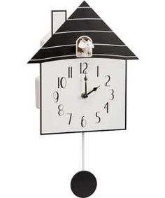 Living Modern Black Wooden Cuckoo Wall Clock.