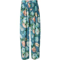Kenzo Vintage Flower Print Sheer Trousers found on Polyvore featuring polyvore, fashion, clothing, pants, blue, blue pants, high waisted wide leg pants, see through pants, high-waisted pants and vintage high waisted pants