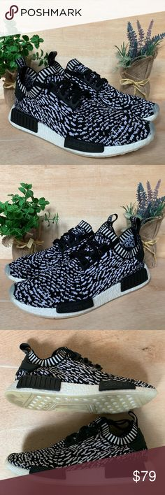 online store 63fff 9d5d8 Adidas NMD R1 Primeknit Zebra Shoes Size 10.5 Gently Used- Great Condition-  No Rips