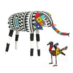 African beaded animals from the Kwa-Zulu Natal, using glass beads from the Czech Republic.