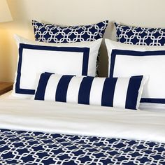 Navy and White Bedding...possibly could go nautical, not sure