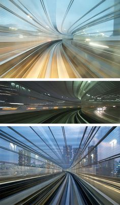 Long-exposure shots show cities in motion on the train to Tokyo.