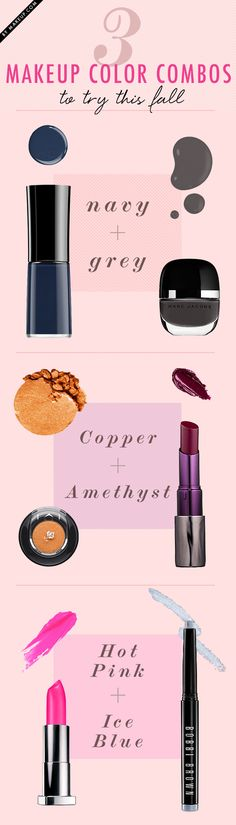 3 makeup color combos to try this Fall.... not too sure about the hot pink and ice blue combo though. Seems a little 80's (not in a good way ;)