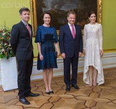 The crown princely couple of Denmark pose with Finnish President Sauli Niinisto and wife Jenni Haukio at Motkes Palace 4/5/13