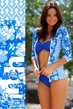 Finch Swim St Barts long-sleave wet shirt Santorini twist-front bandeau top ruche-side bottoms in 'Lapis'