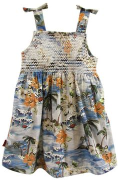 Vintage Style Hawaiian Smocked Dress - Oh Baby London