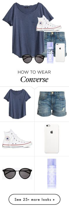 """I'm alone"" by hopebarcus on Polyvore featuring Current/Elliott, H&M, Converse, Yves Saint Laurent, Victoria's Secret PINK, women's clothing, women, female, woman and misses"