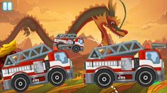 Racing Games For Kids - Fire Truck Racing with Dragon - Cars For Kids Racing Games For Kids, Video Games For Kids, Fire Trucks, Childcare, Race Cars, Monster Trucks, Dragon, Drag Race Cars, Firetruck