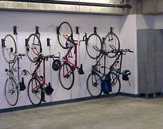 Bike Racks NYC & NJ, Gale's Wall Mount Vertical Bike Racks provide double the bike capacity compared to floor bike racks. Tenant Storage Bins