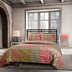 Agra Reversible Quilt Set in Multi - BedBathandBeyond.com