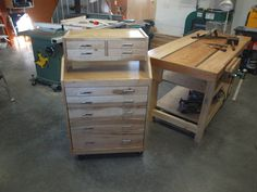 Slant front Rolling Tool Cabinet with removable tool chest - by KMT @ LumberJocks.com ~ woodworking community