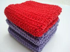Three Cotton Washcloths - Red and Purple Washcloths - Crochet, Crocheted Washcloths, Wash Cloths by HoookedSoap, $12.00