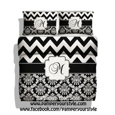 Chevron and Damask Personalized Duvet  by PAMPERYOURSTYLE on Etsy, $139.00 Chevron Monogrammed Bedding Duvet